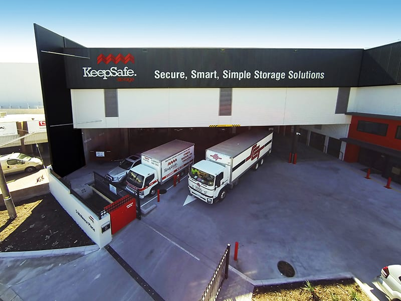Trucks parked in Driveway at one of the KeepSafe storage facilities