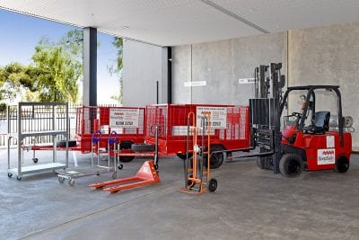 pallet jacks and trailers for customers to use