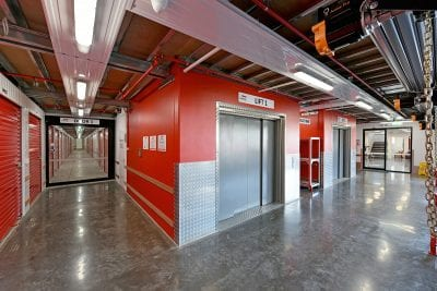 lifts inside a self storage facility