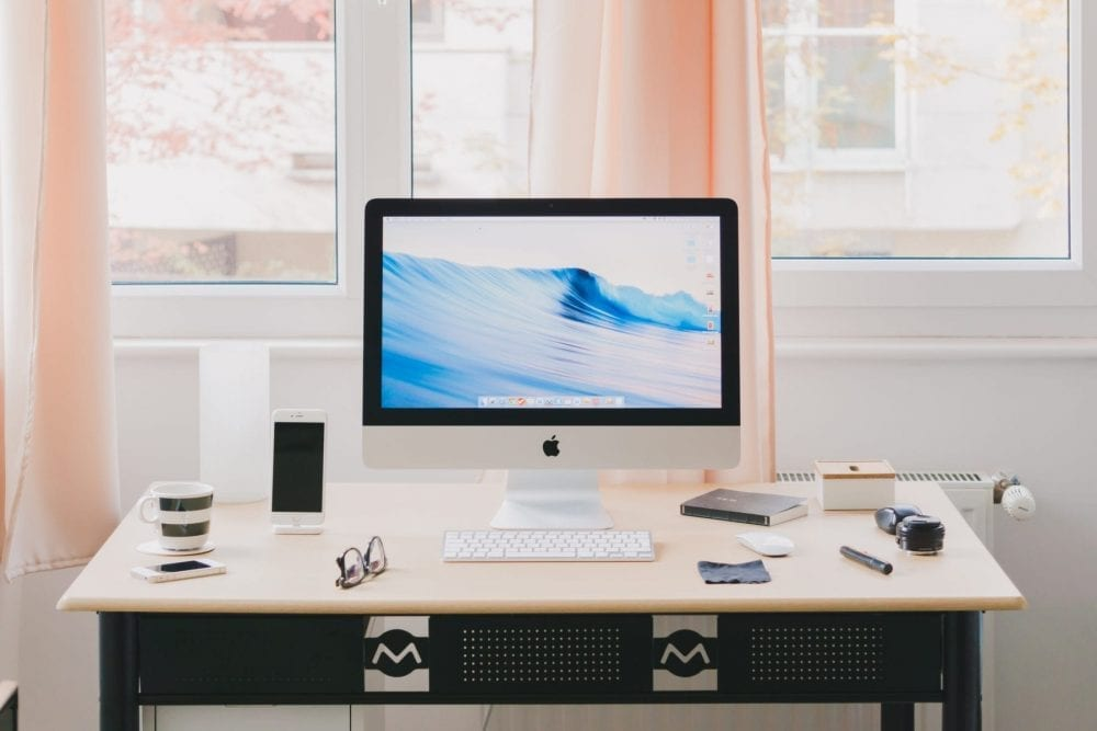 clean home office desk setup