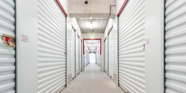 storage units in a bright hallway