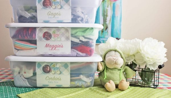 baby keepsakes stored inside plastic storage containers