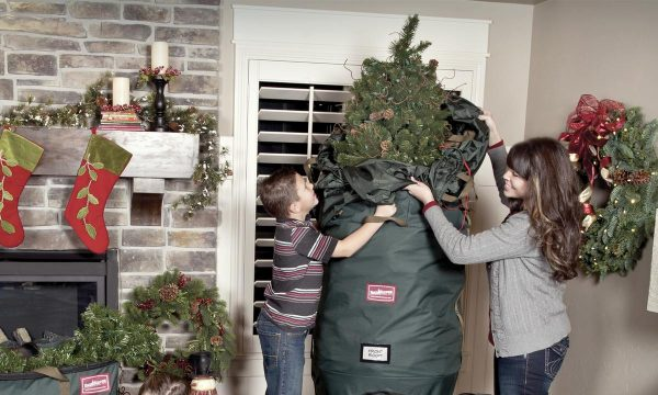 a mother and some removing a christmas tree from a bag
