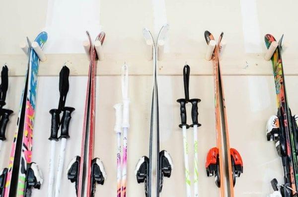 ski's placed on a skii rack