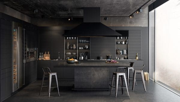a stunning black-themed modern kitchen