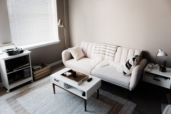 a simple living room setup in a small apartment
