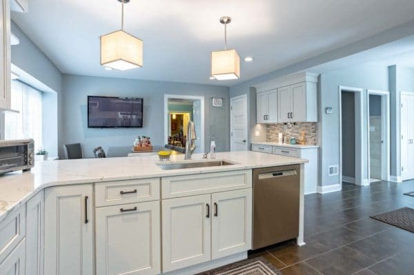A open floor kitchen with a subtle color painted on the walls