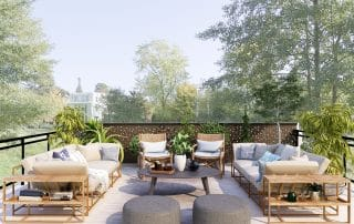 An outdoor space with furniture