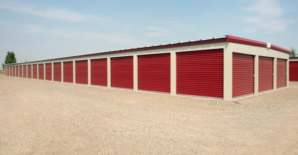Self Storage Units with Red Pull Up Doors